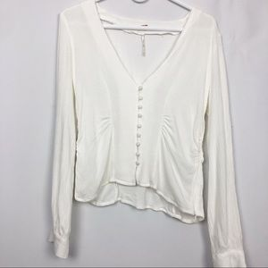 Free People White Button Down Blouse